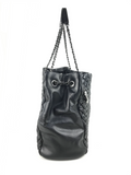 Chic Quilted Black Lambskin Leather CC Charm Large Shopping Tote W/ RHW