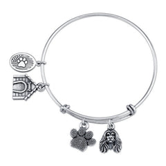 Afghan Hound Charm Bangle Bracelet