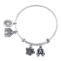 Basset Hound Charm Bangle Bracelet