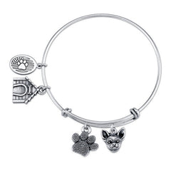 Chihuahua Charm Bangle Bracelet