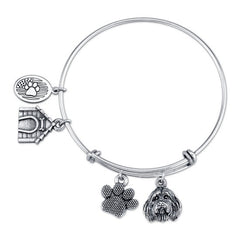 Collie - Bearded Collie Charm Bangle Bracelet