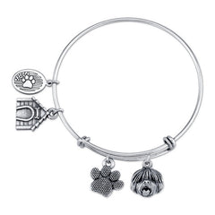 English Sheepdog Charm Bangle Bracelet