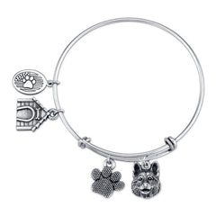 German Shepherd Charm Bangle Bracelet