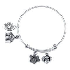 Great Dane (Uncropped) Charm Bangle Bracelet