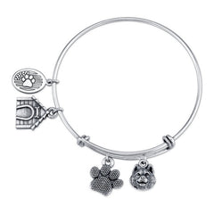 Pomsky Charm Bangle Bracelet