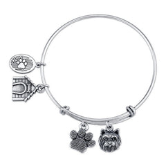 Terrier - Yorkie (W/O Bow) Charm Bangle Bracelet