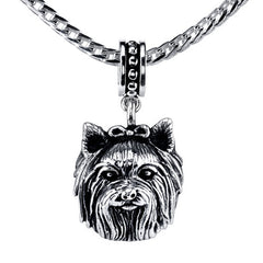 Terrier - Yorkie (long haired w/bow) Pendant Necklace