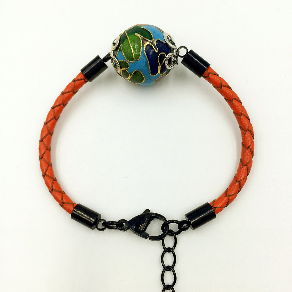 Single Sky Blue Bead on Orange Leather,  - MRNEIO LLC