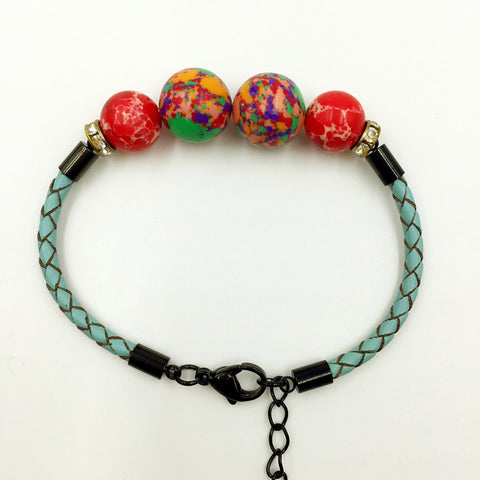 Faux Colorful Red Gemstones on Turquoise Leather,  - MRNEIO LLC