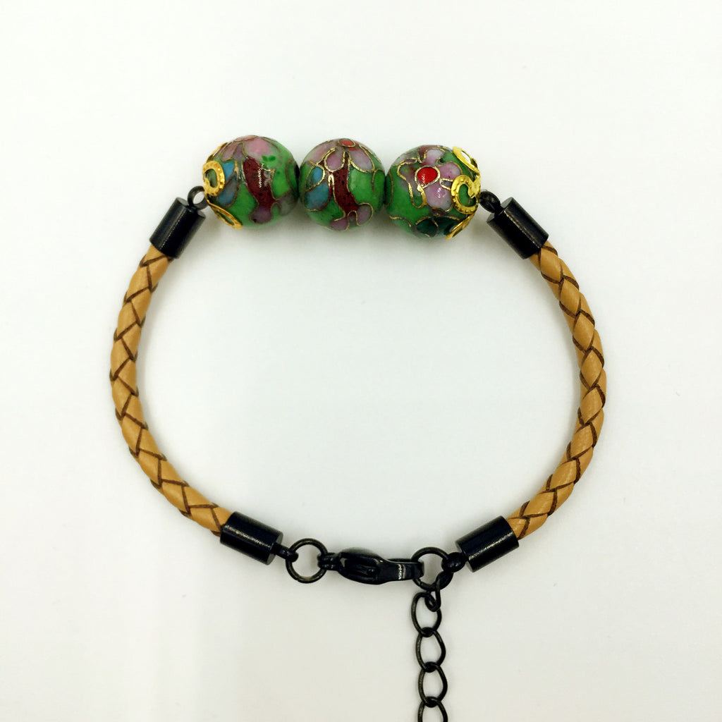 Triple Green Beads on Beige Leather,  - MRNEIO LLC
