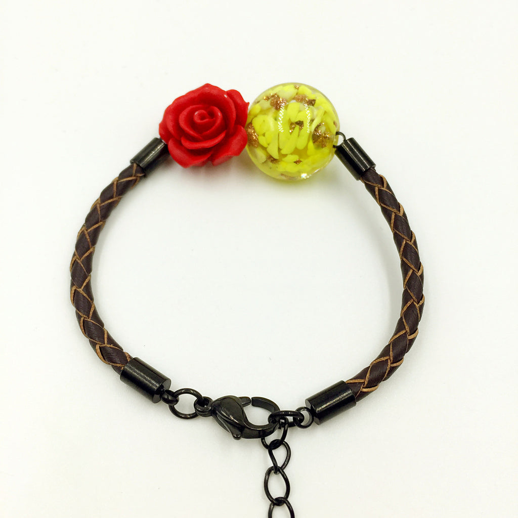 Flower Deco Yellow Bead on Brown Leather,  - MRNEIO LLC
