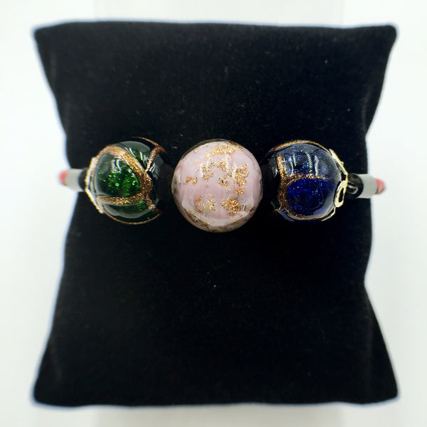 Triple Gold Leaf Purple and Stellar Green and Blue Beads on Red Leather,  - MRNEIO LLC