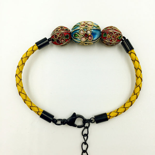 Triple Sky Blue and Red Beads on Lemon Leather,  - MRNEIO LLC