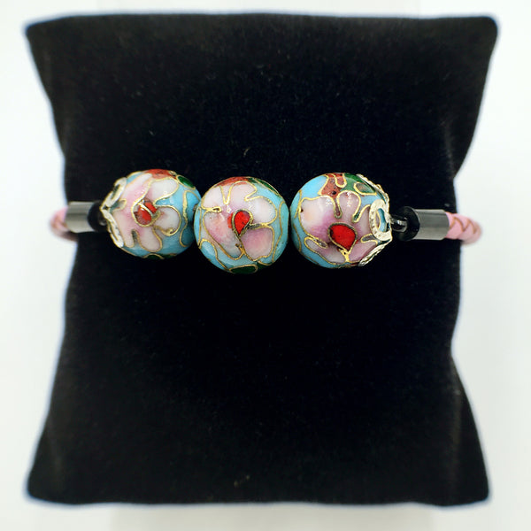 Triple Turquoise Beads on Pink Leather,  - MRNEIO LLC