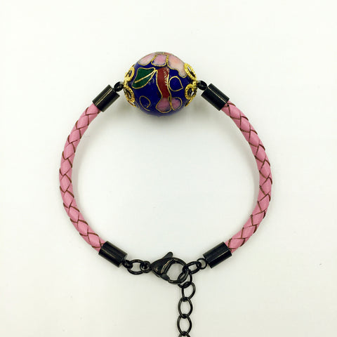 Single Navy Blue Bead on Pink Leather,  - MRNEIO LLC