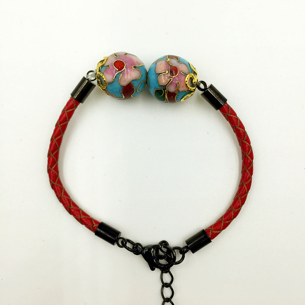 Twin Turquoise Beads on Red Leather