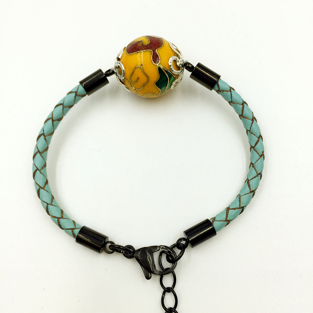 Single Golden Yellow Bead on Turquoise Leather,  - MRNEIO LLC
