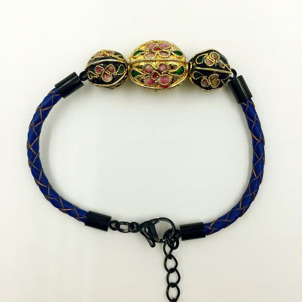 Triple Gold and Black Beads on Navy Blue Leather,  - MRNEIO LLC