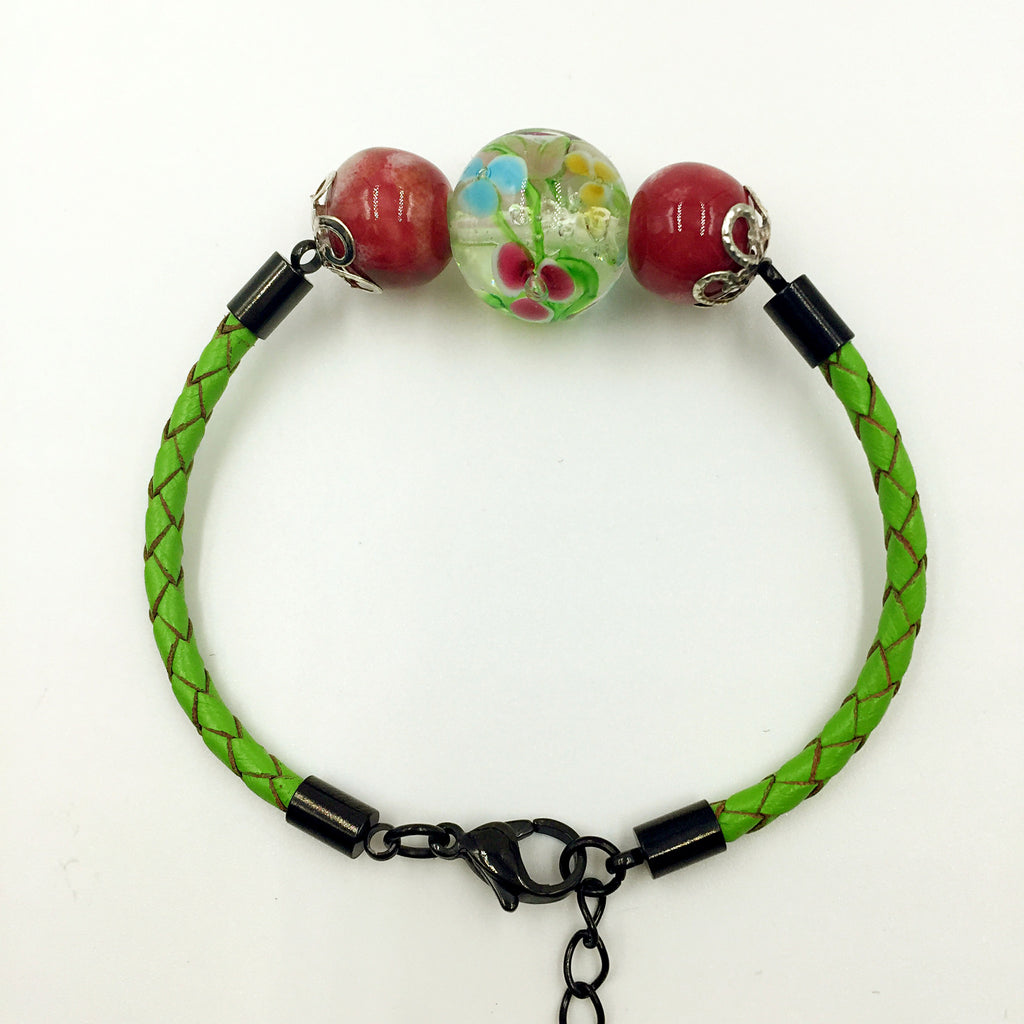 Triple Flower Green and Ceramic Beads on Green Leather,  - MRNEIO LLC