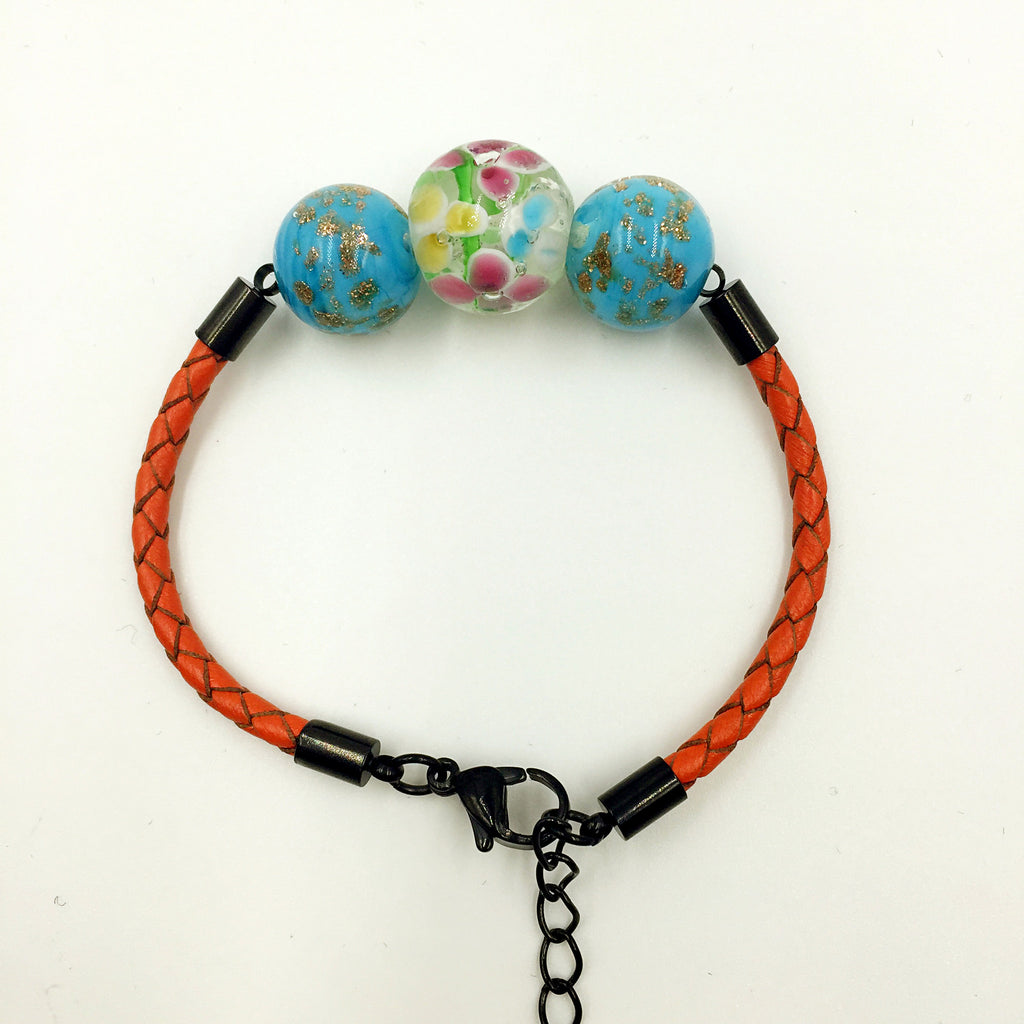 Triple Flower Clear and Gold Leaf Blue Beads on Orange Leather,  - MRNEIO LLC