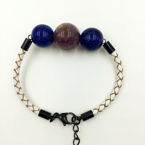 Triple Gold Leaf Purple and Blue Beads on White Leather,  - MRNEIO LLC
