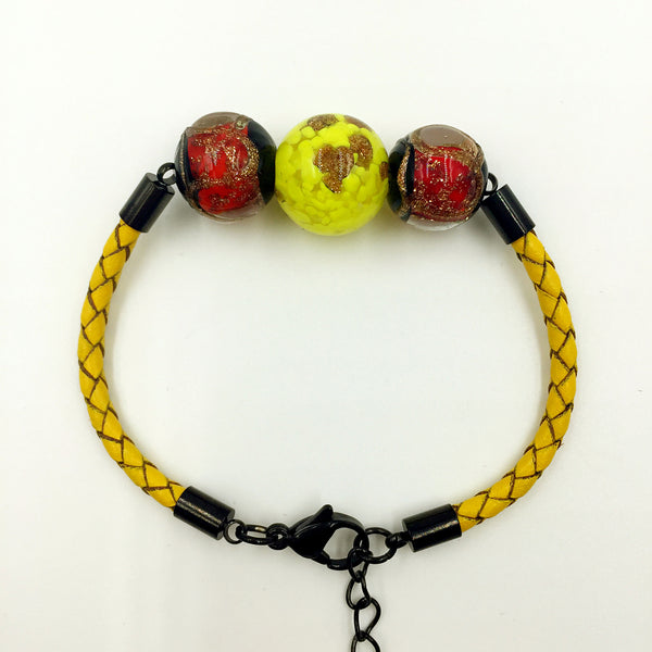 Triple Gold Leaf Yellow and Stellar Red Beads on Yellow Leather,  - MRNEIO LLC