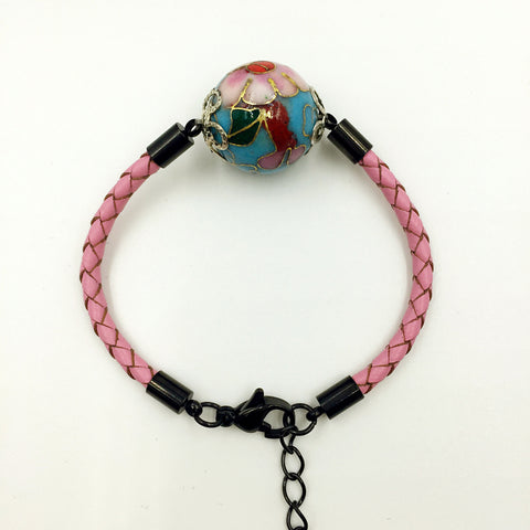 Single Blue Bead on Pink Leather,  - MRNEIO LLC
