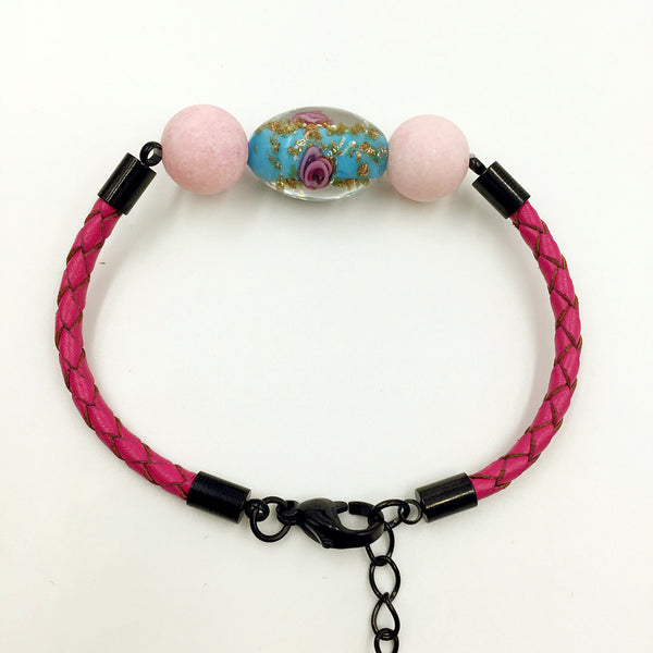 Pink Macaron Turquoise Flower Bead on Rose Red Leather