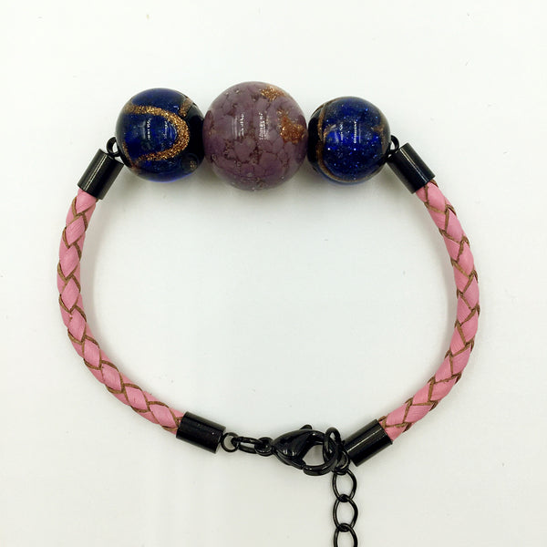 Triple Gold Leaf Purple and Stellar Blue Beads on Pink Leather,  - MRNEIO LLC