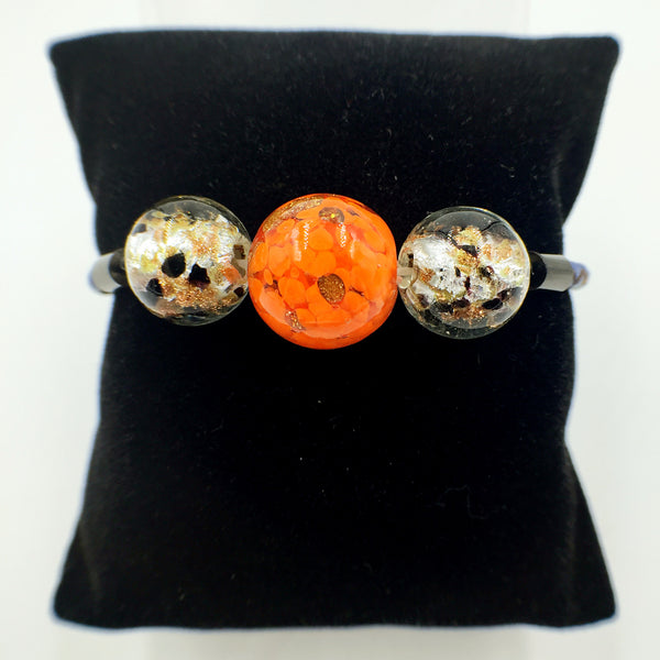 Triple Gold Leaf Orange and Black Beads on Navy Blue Leather