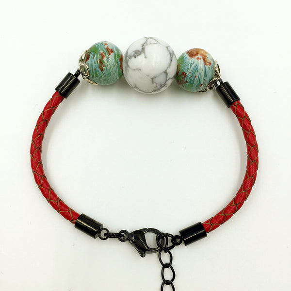 Faux Grey/White and Brown/Green Gemstones on Red Leather,  - MRNEIO LLC