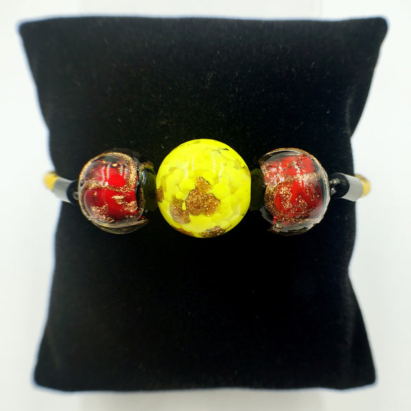 Triple Gold Leaf Yellow and Stellar Red Beads on Yellow Leather