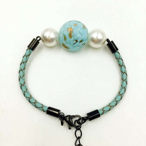 White Pearl Gold Leaf Turquoise Bead on Turquoise Leather,  - MRNEIO LLC