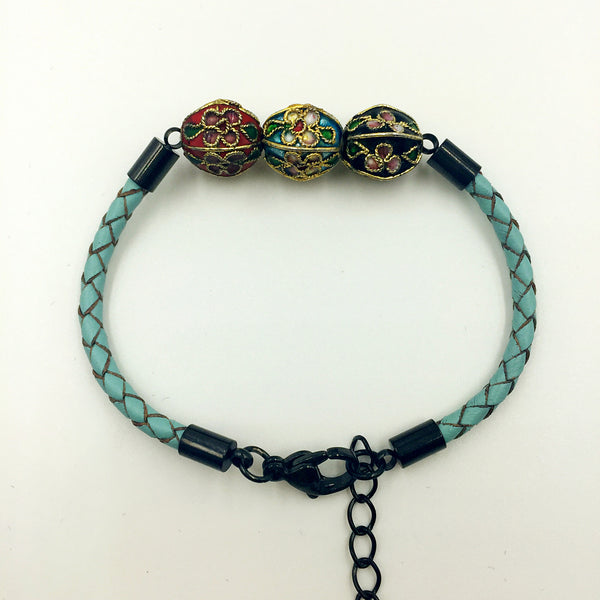 Triple Sky Blue, Red and Black Beads on Turquoise Leather,  - MRNEIO LLC