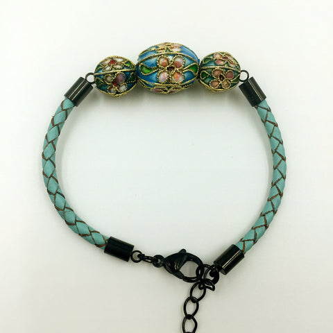 Triple Sky Blue and Green/Blue Beads on Turquoise Leather,  - MRNEIO LLC