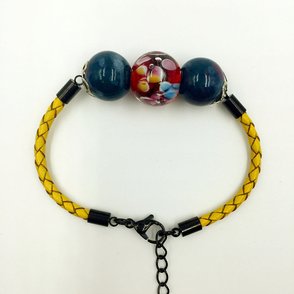 Triple Flower Red and Ceramic Beads on Yellow Leather,  - MRNEIO LLC