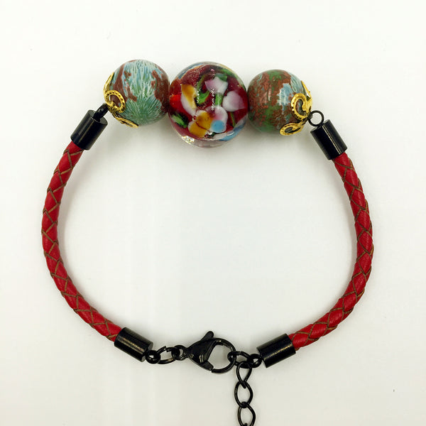 Triple Flower Red and Ceramic Beads on Red Leather,  - MRNEIO LLC