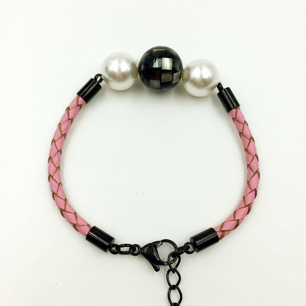 White Pearl Black Mother of Pearl Bead on Pink Leather,  - MRNEIO LLC