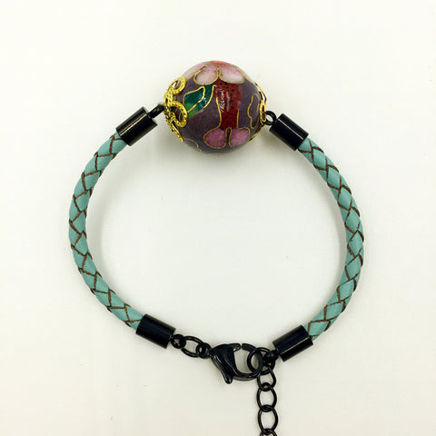 Single Grape Purple Bead on Turquoise Leather,  - MRNEIO LLC