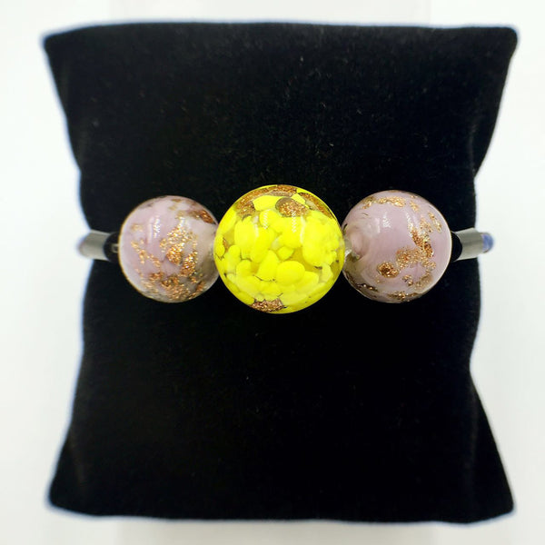 Triple Gold Leaf Yellow and Purple Beads on Navy Blue Leather