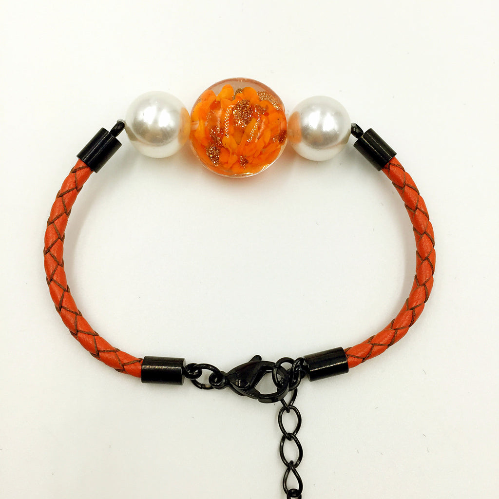 White Pearl Orange Bead on Orange Leather,  - MRNEIO LLC