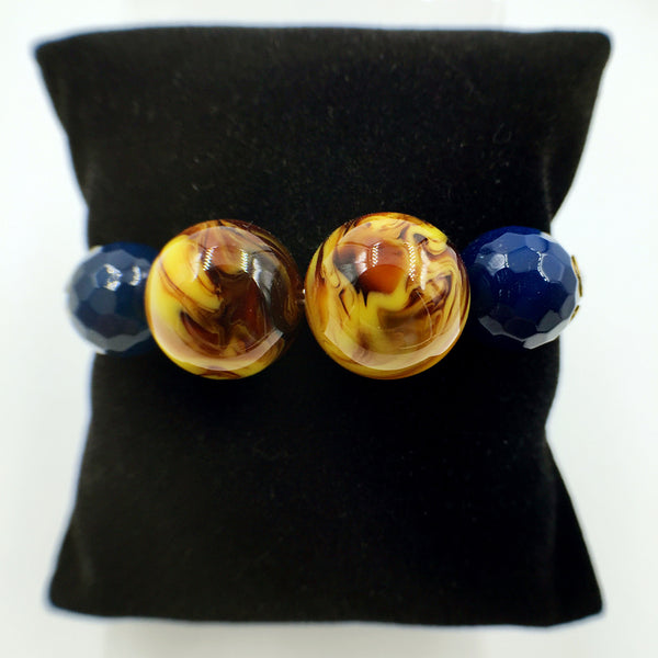 Faux Brown Yellow and Navy Blue Gemstones on Beige Leather,  - MRNEIO LLC