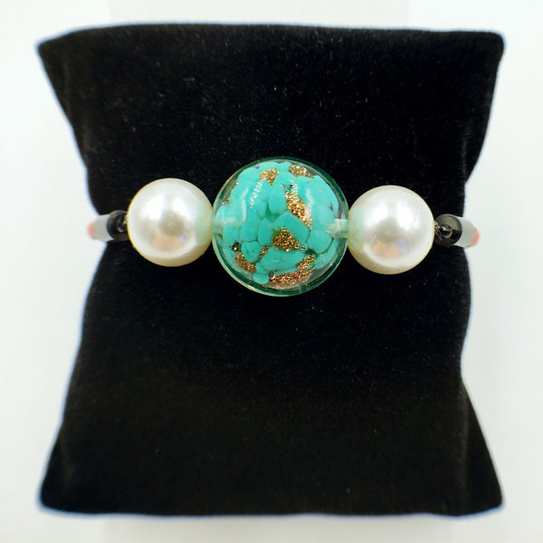 White Pearl Gold Leaf Green Bead on Orange Leather,  - MRNEIO LLC