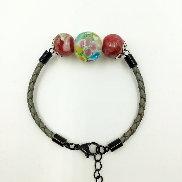 Triple Flower Yellow and Red Ceramic Beads on Grey Leather,  - MRNEIO LLC