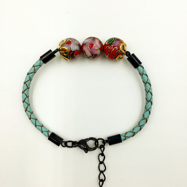 Triple Red Beads on Turquoise Leather,  - MRNEIO LLC