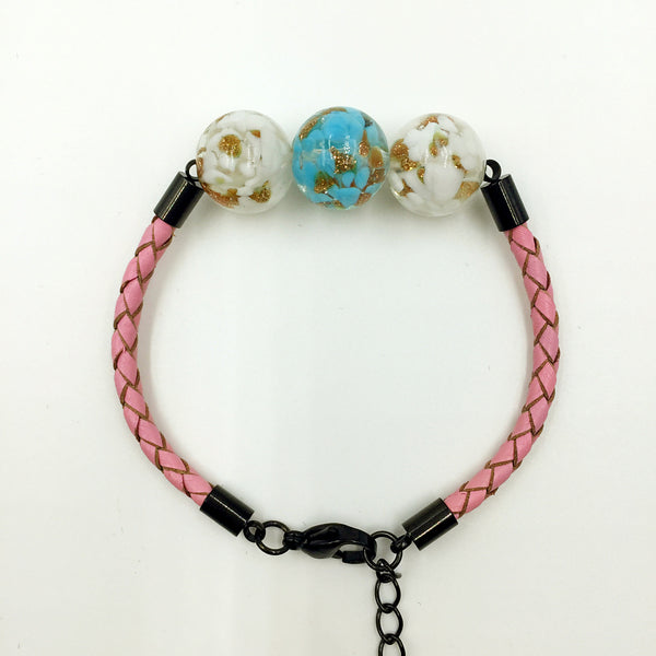 Triple Gold Leaf Sky Blue and White Beads on Pink Leather,  - MRNEIO LLC