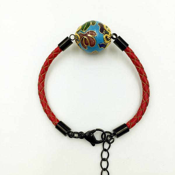 Single Sky Blue Bead on Red Leather,  - MRNEIO LLC