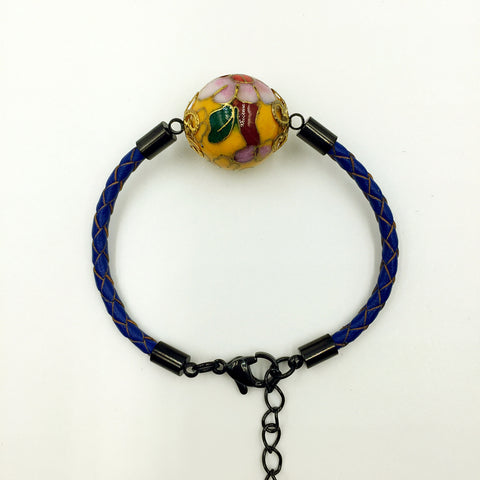 Single Golden Yellow Bead on Navy Blue Leather,  - MRNEIO LLC