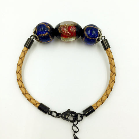 Triple Stellar Red and Blue Beads on Yellow Leather,  - MRNEIO LLC