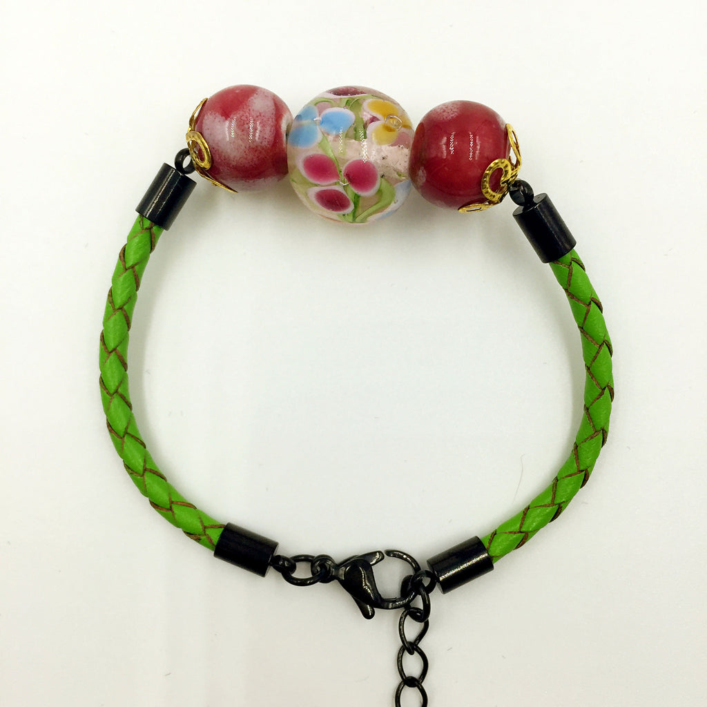 Triple Flower Pink and Ceramic Beads on Green Leather,  - MRNEIO LLC